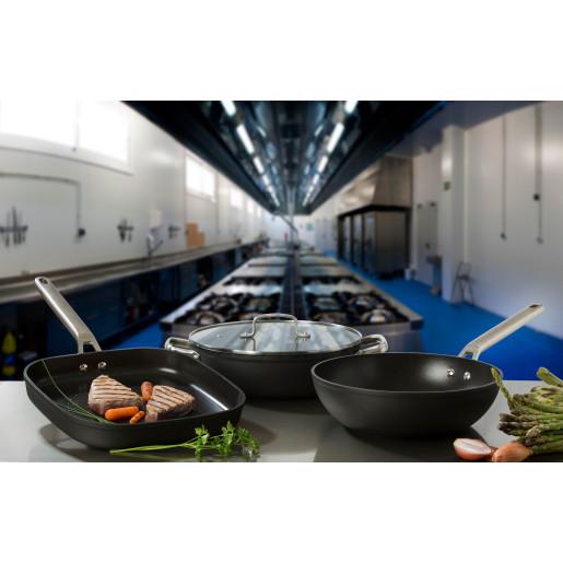 "Grill PROFESIONAL antiaderent FARA PFOA, inclusiv INDUCTIE, ARCOS ""Samoa"", aluminiu forjat + Otel Inox, 6 straturi, 28x28cm"