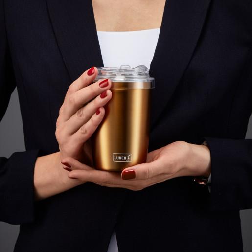 Cana Termos pt  Cafea  LURCH (Germania), oțel inoxidabil, roz auriu, cu capac transparent, 0,3l