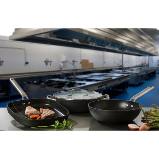 "Cratita PROFESIONALA antiaderenta cu CAPAC, FARA PFOA, inclusiv INDUCTIE, ARCOS ""Samoa"", aluminiu forjat + Otel Inox, 6 straturi, 16cm"