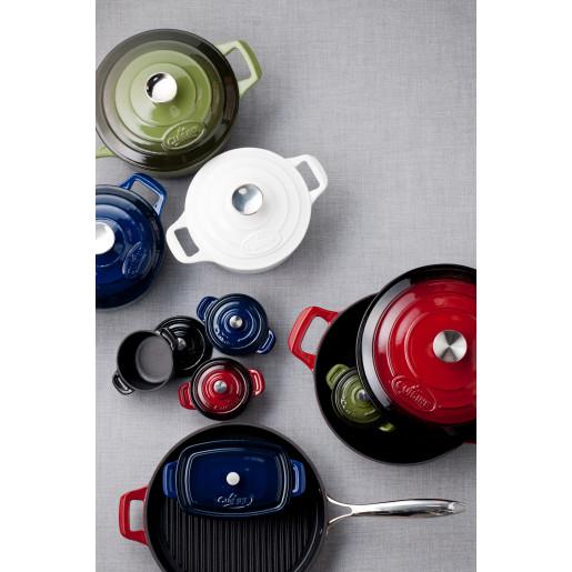 "Promotie ""LA CUISINE"" Set Vase de Fonta Emailata: Tava 34x26cm + Suport Oval 26x18cm + Grill 28x28cm (Rosu), Garantie pe viata"