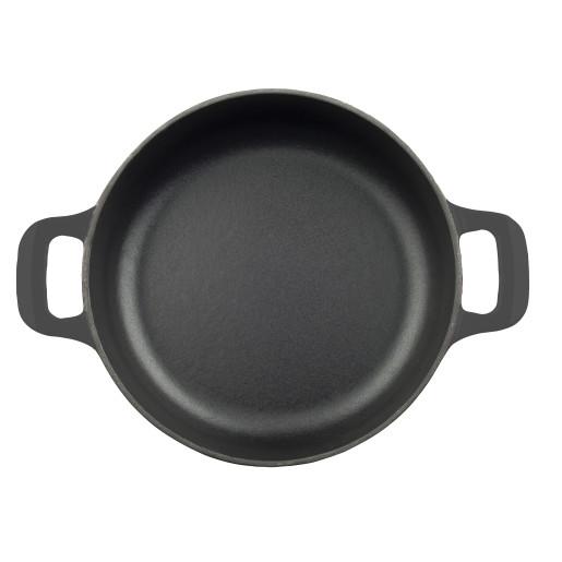 """Cratita joasa de fonta emailata """"LA CUISINE"""" Saute, Neagra, 28cm"""
