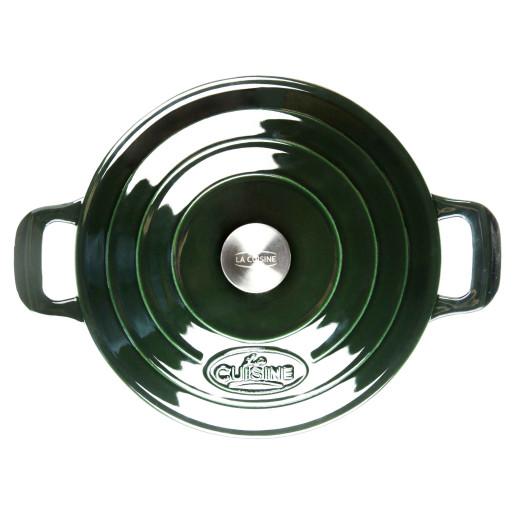"""Oala de Fonta emailata """"LA CUISINE"""", Hunting Green, 28cm"""