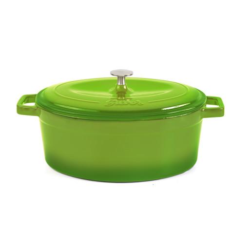 Cratita ovala de fonta SILVER 23X30cm, Verde
