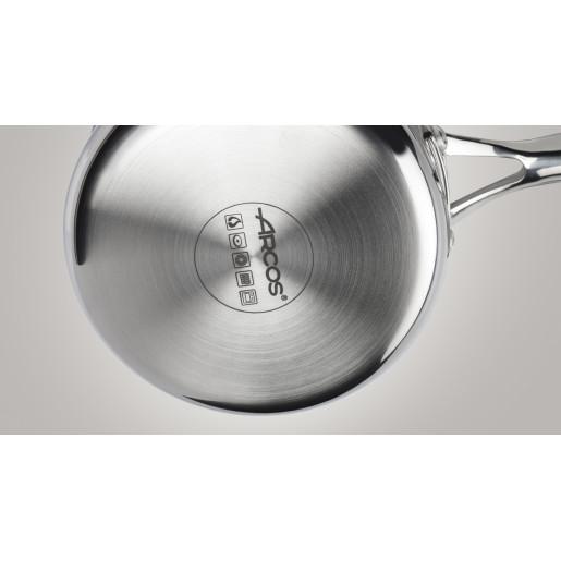 """Cratita Inox 10 ANI GARANTIE, Capac sticla termorezistenta, inclusiv INDUCTIE, ARCOS """"FORZA"""", 24cm"""