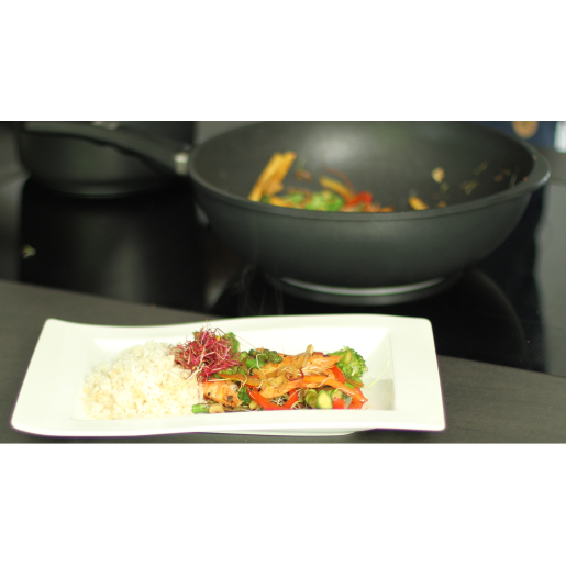 WOK 32cm, neaderent, 9mm grosime, AMT Gastroguss (prod. Germania), inaltime 11cm, 3litri