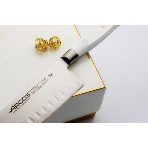 """Set Promotional ARCOS """"RIVIERA BLANC"""": Cutitul Bucatarului 200mm, Cutit Santoku 180mm, Cutit de Paine 200mm, Cutit de Bucatarie 150mm, Cutit de decojit 100mm"""