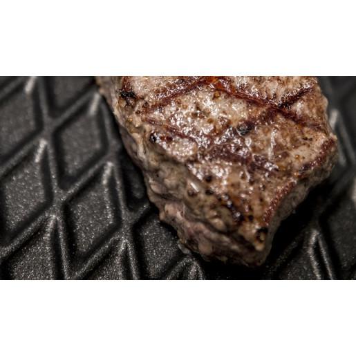 "SET PROMO ""AMT Gastroguss"" : Tigaie GRILL Inductie, Neaderenta, 9mm grosime, patrata 26x26x4cm + Capac 26 x 26 cm (prod. Germania)"
