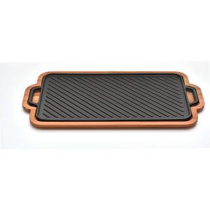 Plita de fonta SILVER cu 2 suprafete (o parte grill + o parte plana) 26x47cm, cu suport inclus