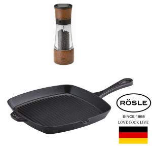 """RÖSLE Grill din Fonta emailata """"Sansibar"""" 27x27cm Inductie, cu CADOU Rasnita pentru Condimente, Lemn de Fag 17.5cm!"""