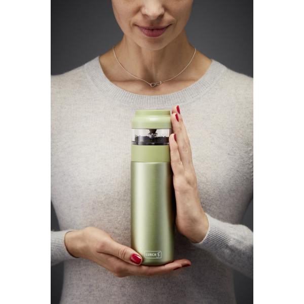 Termos Tea Maker pt preparat instant ceai proaspat LURCH (Germania) din oțel inoxidabil, verde, 0,4l