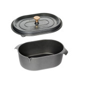 "SET PROMO ""AMT Gastroguss"" : Cratita Neaderenta ""La Cocotte"" cu scurgere lichide, 9mm grosime, Ovala, 32x22x11cm, 6 litri+ CAPAC (prod. Germania)"