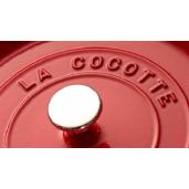 """Cratita de fonta STAUB """"La Cocotte"""" + Cadou: Accesoriu pentru fierbere la aburi, (26cm, Rosie)"""