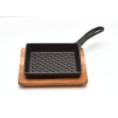 Set SILVER Tigaie GRILL de fonta 16x16cm + suport lemn + castronase pentru sosuri