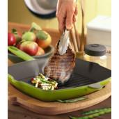 SET Promotie SILVER: Grill de Fonta 32x26cm + Cratita de Fonta cu Capac 26cm, Negru