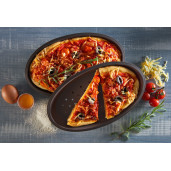 """LURCH FLEXI-FORM: Set de 2 Tavi de Copt din Silicon """"Platinum"""" pentru PIZZA, perforate, pentru aluat crocant"""